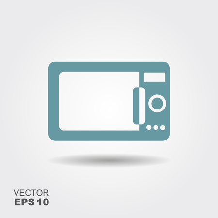 Home appliances. Microwave flat icon. Vector illustration