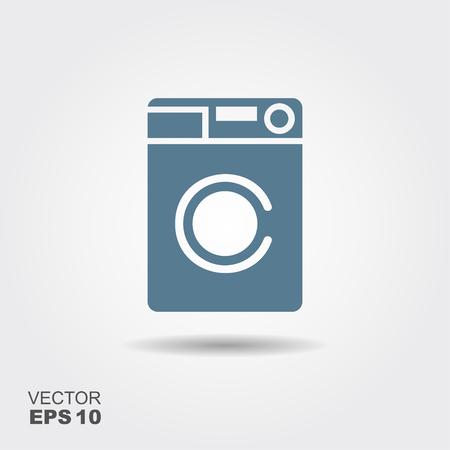 Washing machine icon. Home appliances symbol. Flat sign on gray background. Vector illustration