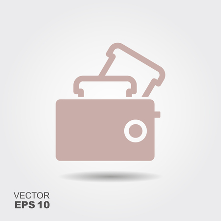 Toaster Icon in flat style isolated on grey background. Vector illustration