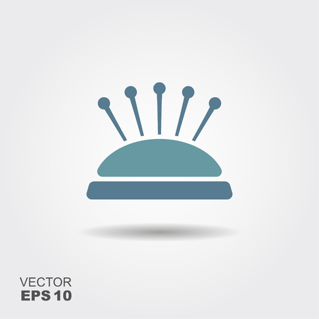 Pin cushion with pins vector icon. Vector illustration 일러스트
