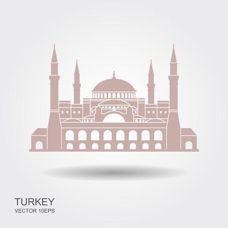 Hagia Sophia in Istanbul, Turkey. Vector, illustration. Flat icon with shadow