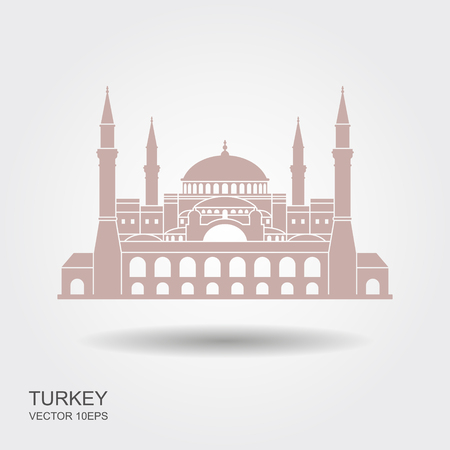 Hagia Sophia in Istanbul, Turkey. Vector, illustration. Flat icon with shadow