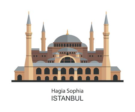 Hagia Sophia in Istanbul, Turkey. Highly detailed illustration.