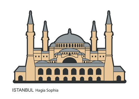 Hagia Sophia in Istanbul, Turkey. Vector, illustration. Фото со стока - 111203627