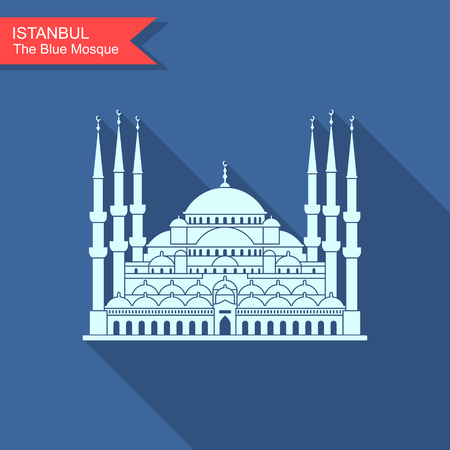 The Blue Mosque, Istanbul, Turkey. Flat icon