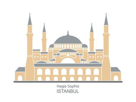 Hagia Sophia in Istanbul, Turkey. Vector, illustration. Фото со стока - 111203829