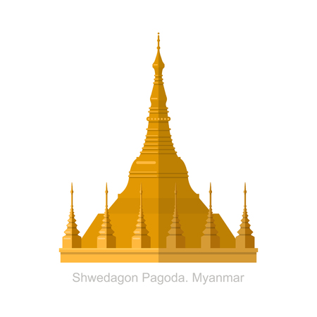 Shwedagon Pagoda in Yangon, Myanma symbol icon 矢量图像
