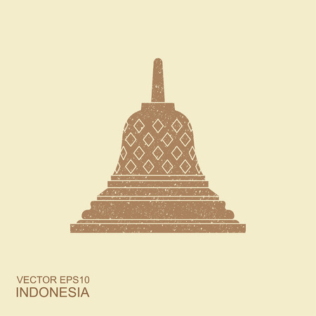 Indonesian Borobudur ancient temple. Flat vector icon