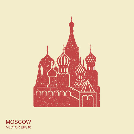 Saint Basil cathedral , Moscow, vector flat icon 일러스트