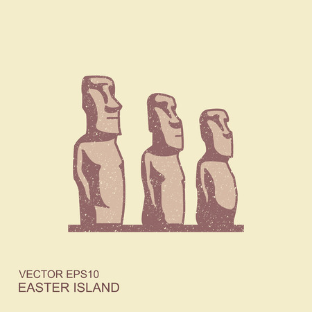 Easter island statues vector illustrarion. Flat icon