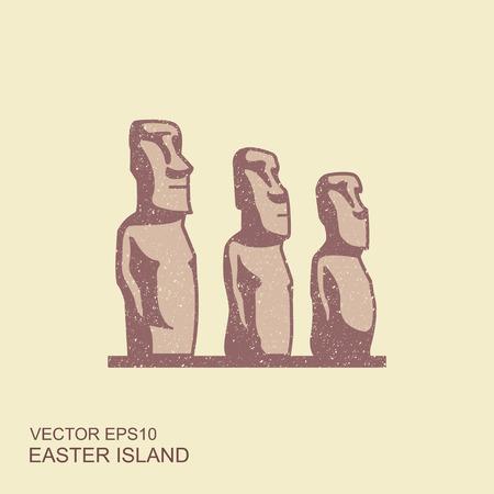 Illustrarion del vector de las estatuas de la isla de pascua. Icono plano