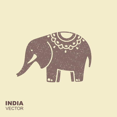 Elephant. Stylized flat icon with scuffing effect