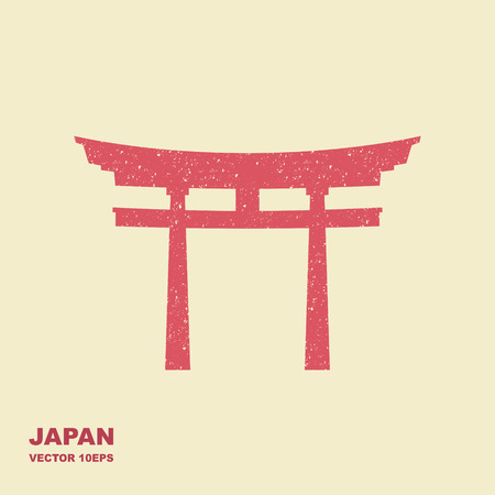 Traditional Japanese Torii gate vector. Flat icon with scuffing effect