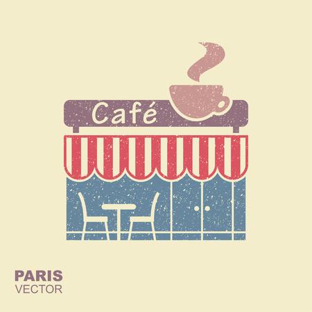 Street cafe in Paris. Stylized flat icon with scuffing effect Vettoriali