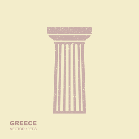 Greek classical column. Vector icon in flat style