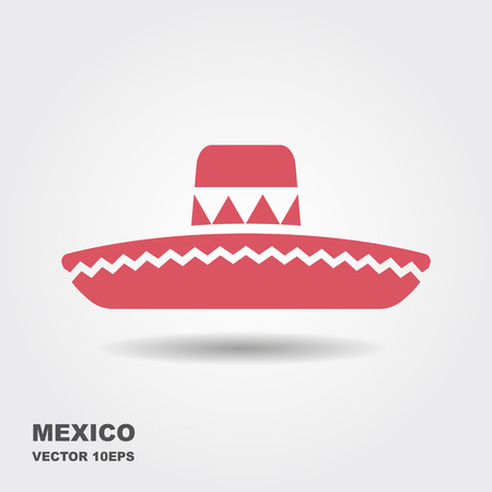 Mexican Sombrero hat flat vector icon with shadow