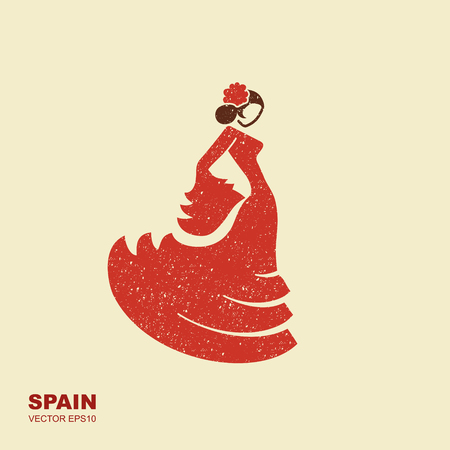 Spanish flamenco dancer. Vector Illustration in flat style with scuffed effect Иллюстрация