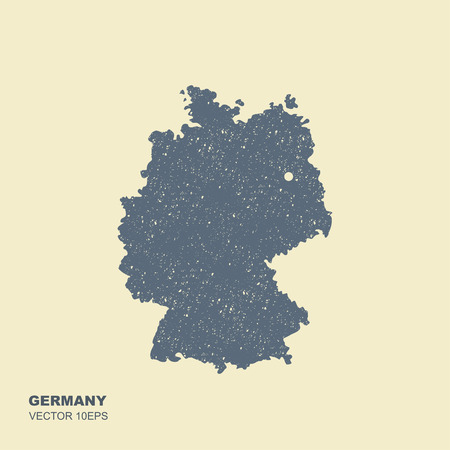 Map of Germany. Vector illustration in flat style with scuffed effect