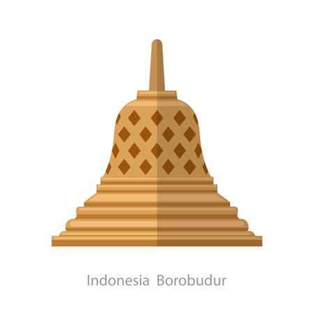 Borobudur ancient temple. Indonesia landmark icon vector