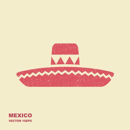 Mexican Sombrero hat flat vector icon with scuffed effect Ilustración de vector