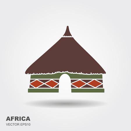 African tribal hut icon isolated on white background with shadow