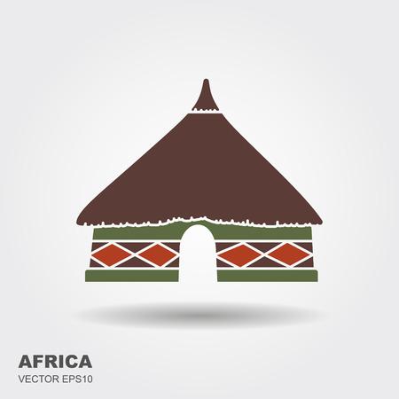 Icona di capanna tribale africana isolato su sfondo bianco con ombra Vettoriali
