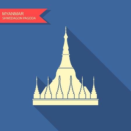 Myanmar travel destination, Yangon symbol, Shwedagon pagoda, tourism concept, culture and architecture, famous landmark  イラスト・ベクター素材