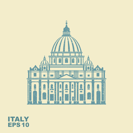Vector Illustration of St. Peter in Roma. Vector flat icon with scuffed effect 向量圖像