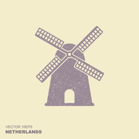 Moulin à vent hollandais traditionnel de Hollande. Icône plate vecteur avec effet éraflé Vecteurs
