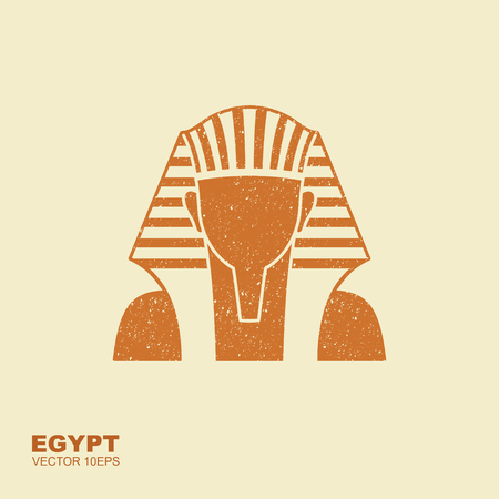 Egyptian golden pharaohs mask icon. Flat illustration of egyptian golden pharaohs mask. Flat icon with scuffed effect