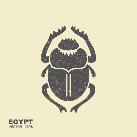 Vector Scarab Beetle. Ancient Egypt. Flat icon with scuffed effect Ilustrace