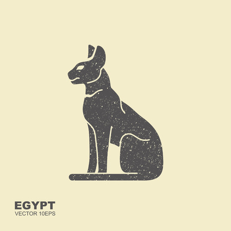 Black silhouette of the ancient Egyptian cat breed sacre