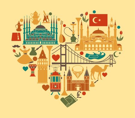Set of country Turkey culture and traditional symbols. Collection of icons mosque and tower, hookah, tea, musical instruments, weapons in the form of heart