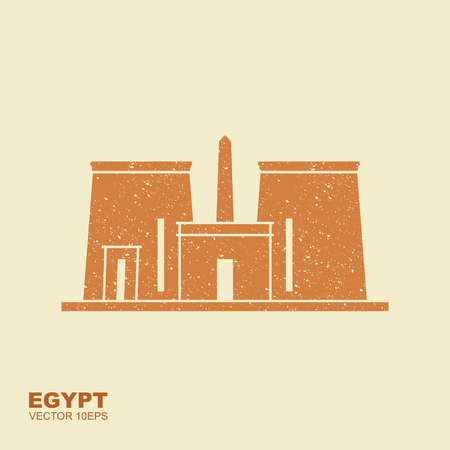 The Temple of Edfu is an ancient Egyptian temple, located on the west bank of the Nile in Edfu, Upper Egypt. Flat stylized vector icon