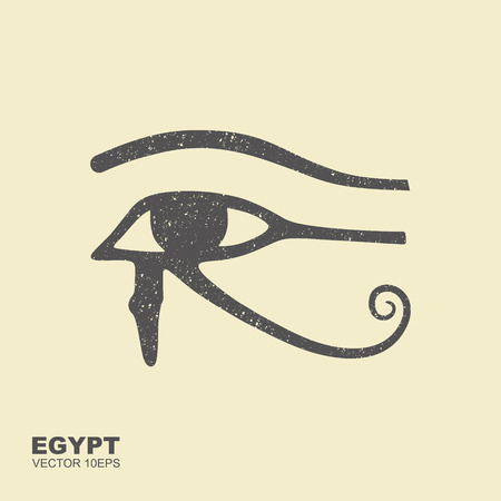 Znak starożytnego egipskiego księżyca. Wektor płaskie ikona porysowany efekt Zdjęcie Seryjne