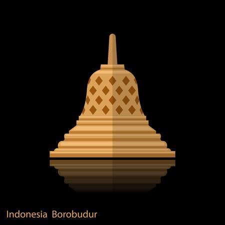 Antiguo templo de Borobudur. Icono de hito de Indonesia con reflejo