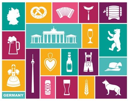 Traditional symbols of culture, architecture and cuisine of Germany. Flat icons