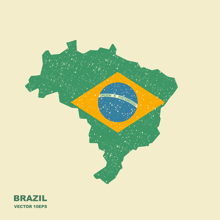 Brazil Map with Flag Vector with scuffed effect Illustration