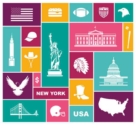 Symbols of the USA. Flat vector icon Illustration