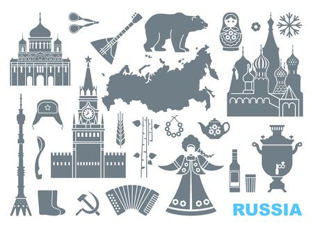 Reihe von Icons zum Thema Russland