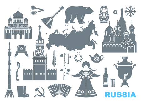 Set of icons on the theme of Russia Illustration