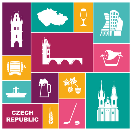 Symbols of the Czech Republic. Flat vector icon