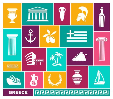 Greece trhaditional symbols flat icons. Vector illustration