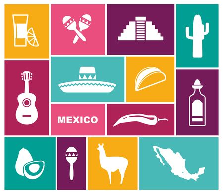Traditional symbols of Mexico. Flat vector icons