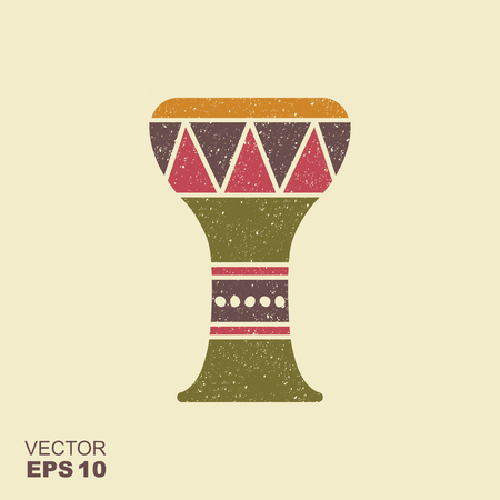 Traditional folk ethnic percussion instrument. Drum icon with scuffed effect in a separate layer Illustration