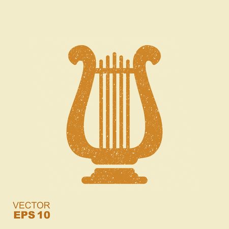 Golden lyre icon with scuffed effect in a separate layer