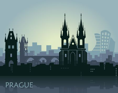 Landscape of Prague with sights. Abstract skyline Illusztráció