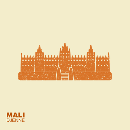 Djenne Great Mosque in Farmantala in Mali. Flat icon sight showplace attraction with scuffed effect