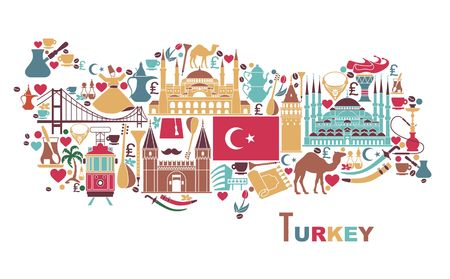 Traditional tourist symbols of Turkey in the form of map Banco de Imagens