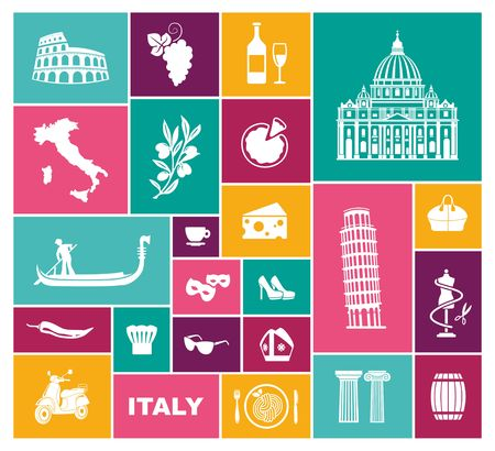 Set of icons on a theme of travel to Italy